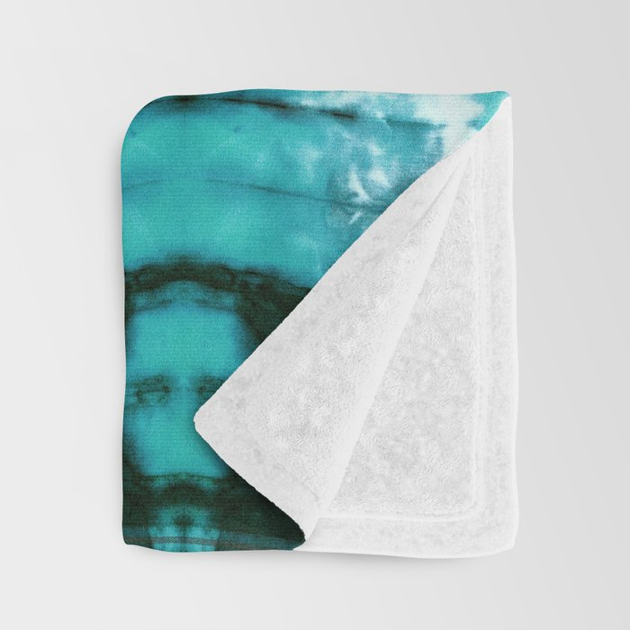 Aqua Satin Shibori Throw Blanket