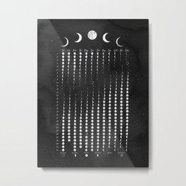 Moon Lunar Calendar 2021 black and white watercolour Metal Print