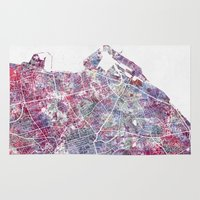 edinburgh Area & Throw Rugs featuring Edinburgh Map by MapMapMaps.Watercolors