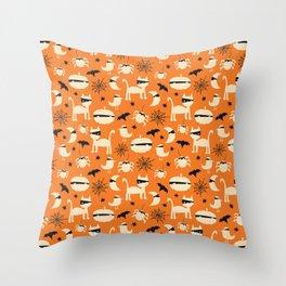 Halloween Mummy Animals Throw Pillow