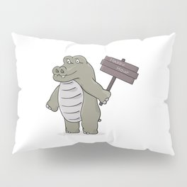 hippopotamus with happy hour sign Pillow Sham
