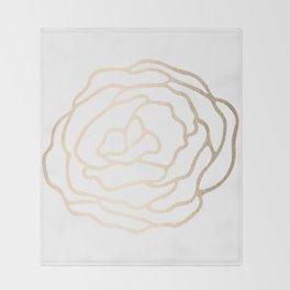 Flower in White Gold Sands Throw Blanket