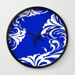 Damask Blue and White Victorian Swirl Damask Pattern Wall Clock