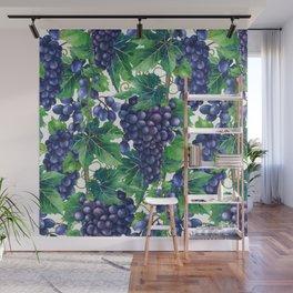 Watercolor grapes Wall Mural