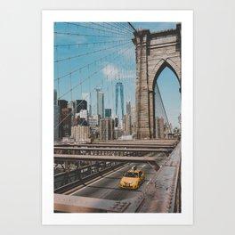 New York City Skyline and Brooklyn Bridge Art Print