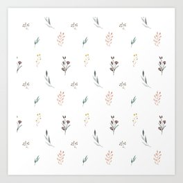 Little botanics pastel pattern Art Print