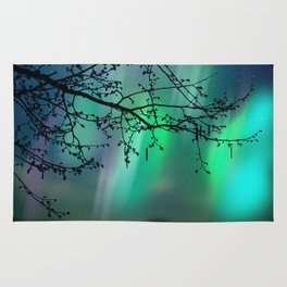 Tree Branch and Aurora Borealis Night Sky Rug