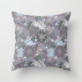 Hare and eggs Throw Pillow