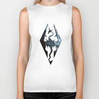 skyrim Biker Tanks featuring Skyrim Dragon by Victor Velocity