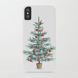 Christmas tree with red balls iPhone Case