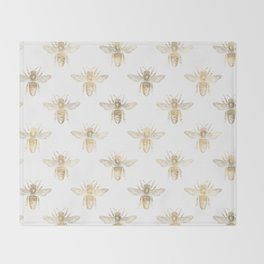 Gold Bee Pattern Throw Blanket