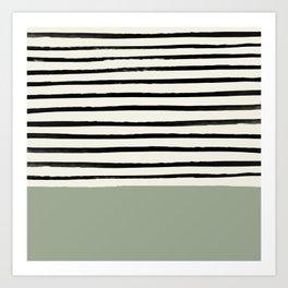 Sage Green x Stripes Art Print