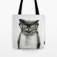 sketch Tote Bags featuring Mr. Owl by Isaiah K. Stephens
