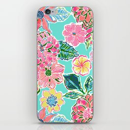 Fun Bright Whimsical Preppy Floral Print / Pattern iPhone Skin
