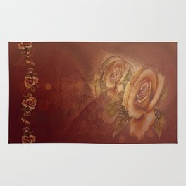 Abstract VintageBronze Roses Rug