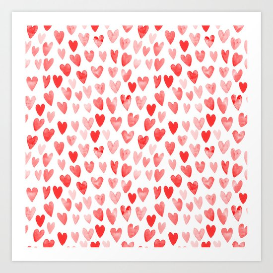 Watercolor heart pattern perfect gift to say i love you on valentines day Art Print