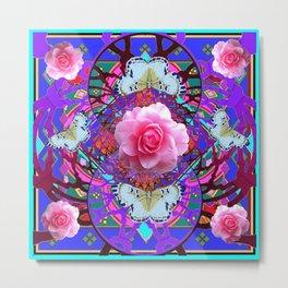 PINK ROSES WHITE BUTTERFLIES  PURPLE NATURE  ART Metal Print