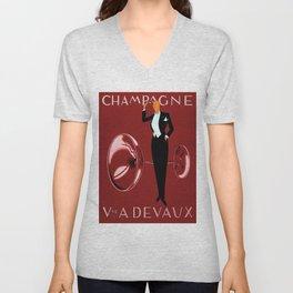 Vintage Champagne Red Veuve A. Devaux, Paris, France Jazz Age Roaring Twenties Advertisement Poster Unisex V-Neck