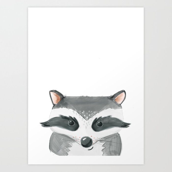 Woodland Cuties || Ricky Raccoon Art Print