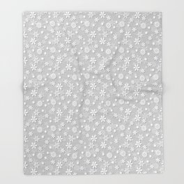 Festive Silver Grey and White Christmas Holiday Snowflakes Throw Blanket