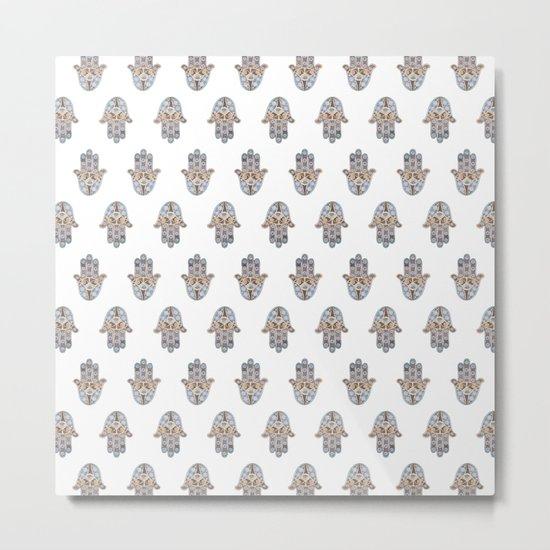 Hamsa Pattern Metal Print