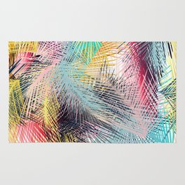 Jungle pampa colorful forest. Tropical fresh forest pattern with palms Rug
