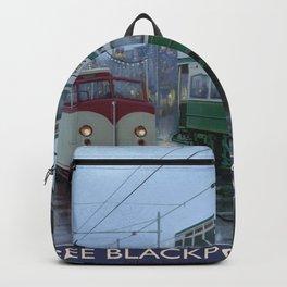 Vintage Blackpool Pleasure Beach trams postcard Backpack