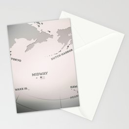 Midway Island Map Black and white Stationery Cards