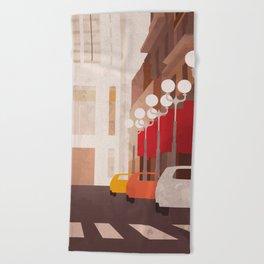 New York Manhattan watercolor Beach Towel
