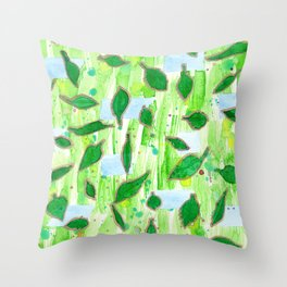 Modern Fresh Leaves Pattern in High Format Throw Pillow