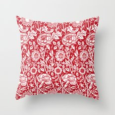 "William Morris Floral Pattern | ""Pink and Rose"" in Red and White Throw Pillow"