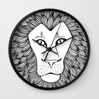 leo Wall Clocks featuring Leo by Julie Erin Designs
