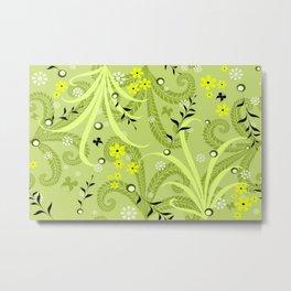 seamless pattern green garden Metal Print