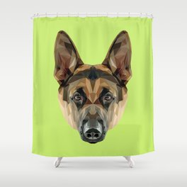 German Shepherd // Green Shower Curtain