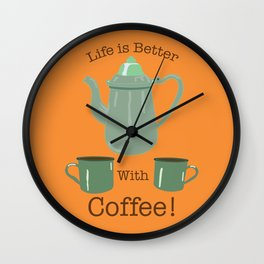 Life is Better with Coffee Illustrated Typography Wall Clock