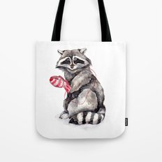 Pensive Raccoon in Red Mittens. Winter Season. Tote Bag