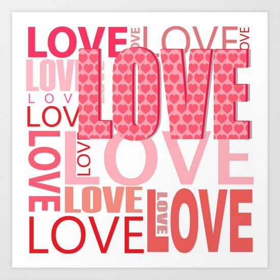 The Word Love In Red With Hearts Art Print