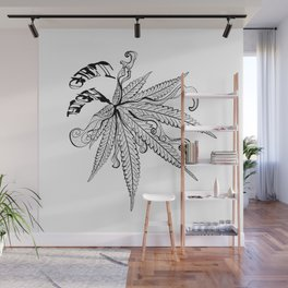 Marijuana leaf with smoke Wall Mural