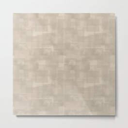 Neutral Brown Squares Abstract Pattern Metal Print