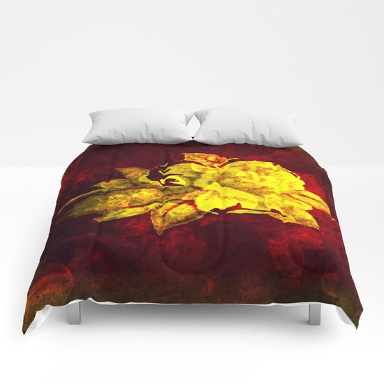 Yellow rose on dark red with hearts background Comforters