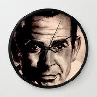 james bond Wall Clocks featuring Sean Connery as James Bond by Caroline Ward
