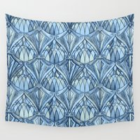 window Wall Tapestries featuring View From a Blue Window by micklyn