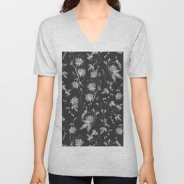 Elegant Black and White Passion Flowers Pattern Unisex V-Neck
