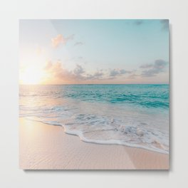 Beautiful tropical turquoise sandy beach photo Metal Print