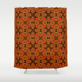 Doodle Pattern TURIN Red Shower Curtain