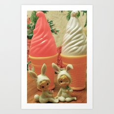 ice cream bunnys Art Print