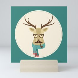 Rustic Christmas Reindeer Hipster Mini Art Print