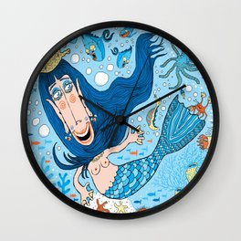 Quirky Mermaid with Sea Friends, Blue version Wall Clock