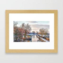 Winter Canal Scene Framed Art Print