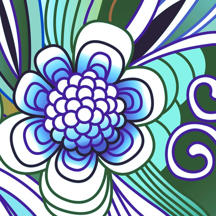 Flower fire, bright blues Leggings